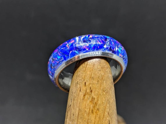 Opal Ring Wedding Band Purple Blue Opal Inlay