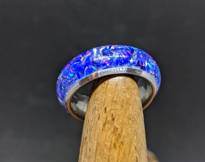 Opal Ring Wedding Band Purple Blue Opal Inlay