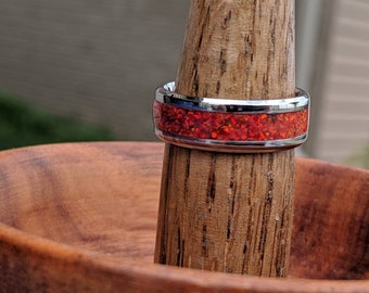 Opal Ring Wedding Band Red Fire Opal Inlay