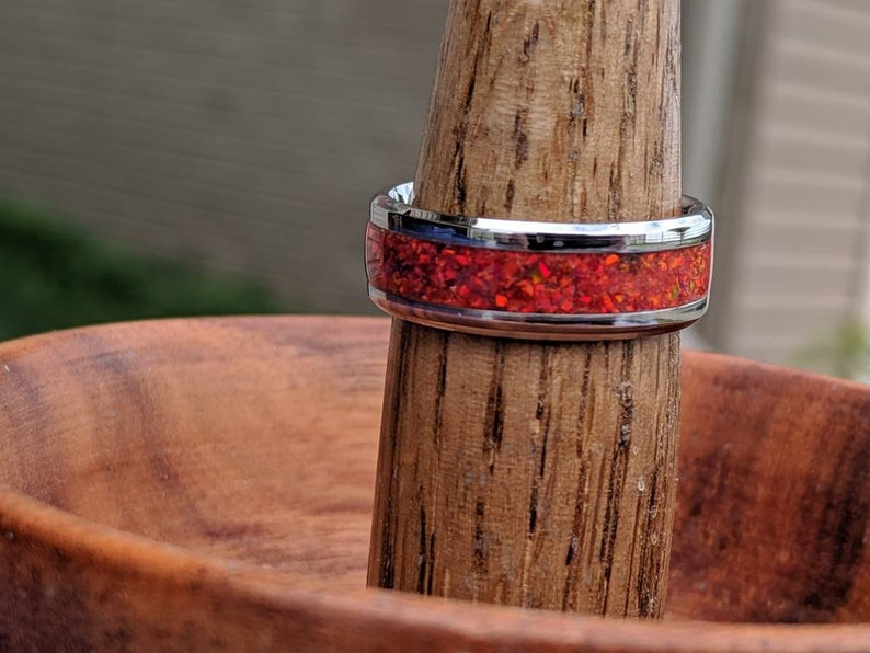 Opal Ring Wedding Band Red Fire Opal Inlay image 0