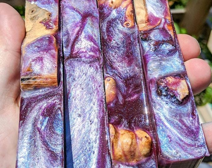 Alumilite Pen Blank - Hybrid Buckeye Burl Purple Moonstone Blue Mother of Pearl