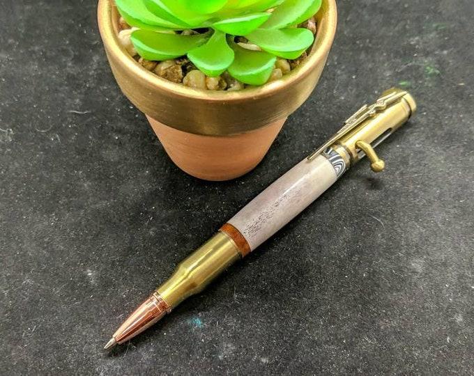 Bolt Action Deer Antler Bullet Pen Fordite Paduk accented