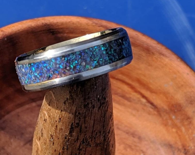 Opal Ring Wedding Band Blue Opal Inlay