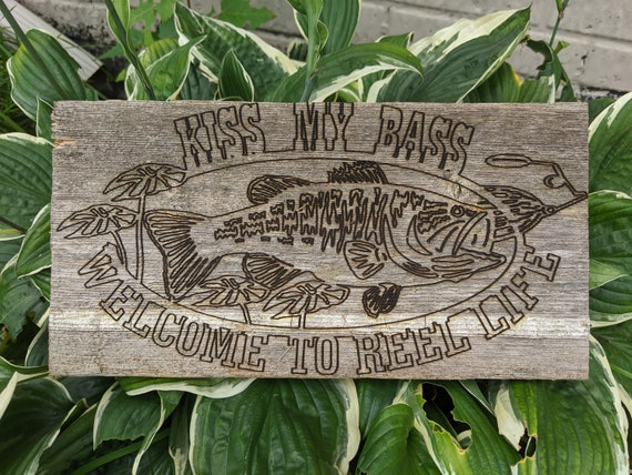 Rustic Kiss My Bass Reclaimed Wood sign and key holder