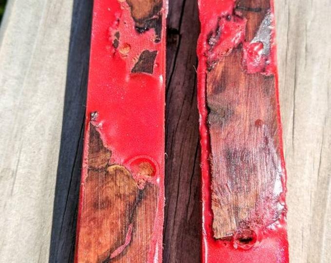 Alumilite Pen Blank - Hybrid Manzanita Burl Metallic Red