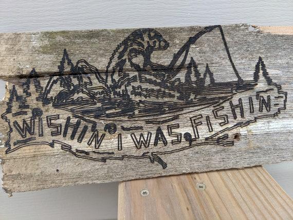 Reclaimed Wood Sign Wish'n I Was Fish'n Key Hey Holder