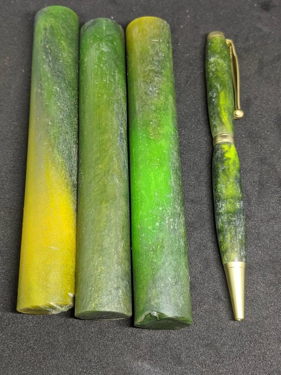 Custom Resin Cast Pen Blanks - Jade Stone Colors