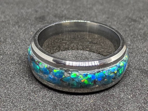 Opal Ring Wedding Band Turquoise Inlay