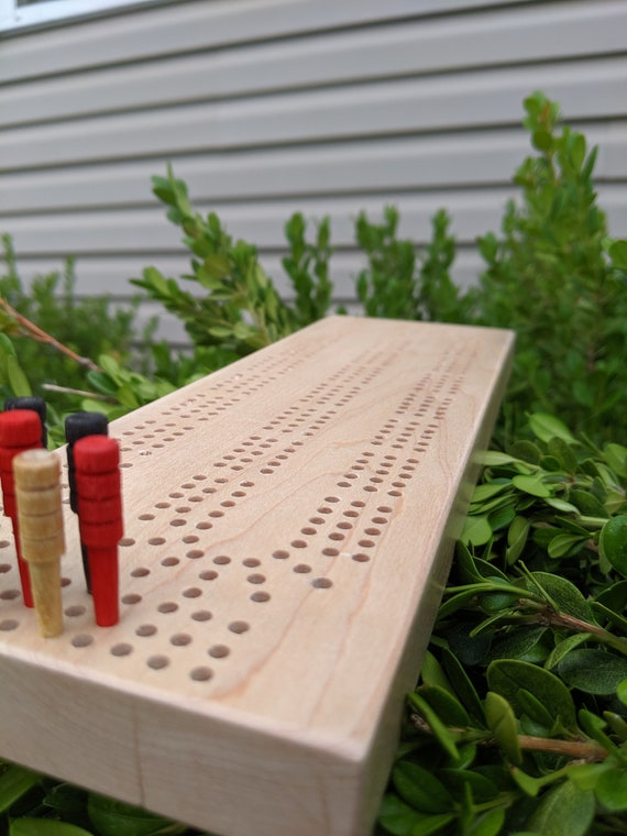 Cribbage Board Handmade Hand Drilled Maple