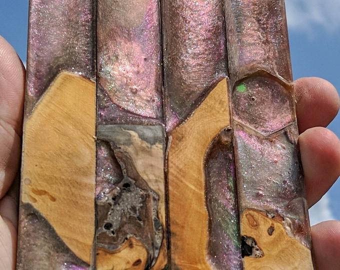 Alumilite Pen Blank - Hybrid Buckeye Burl 3 Chameleon colors
