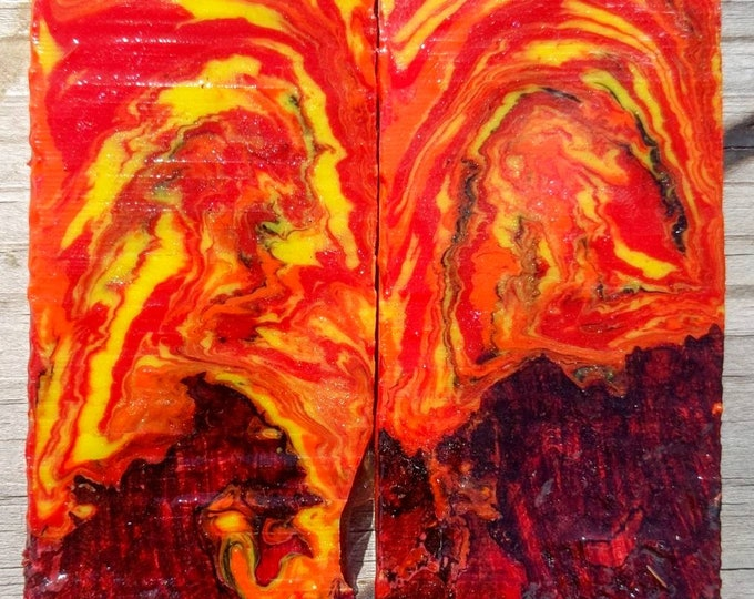 2 pcs Knife Scales - Black Ash Burl and flames Set 2