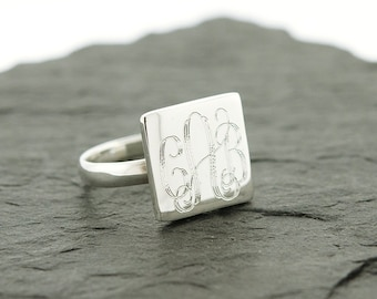925 Sterling Silver Square Monogram Ring