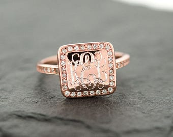 925 Sterling Silver Square CZ Monogram Ring, Gold Monogram Ring, Rose Gold