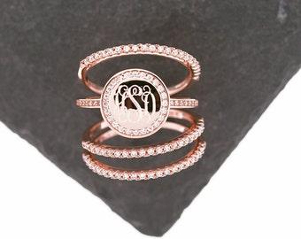 925 Silver CZ Stacking Monogram Ring, Wedding Set, Monogram Stackable Ring, Rose Gold