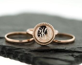 925 Sterling Silver Stacking Monogram Rope Ring, Wedding Set, Monogram Stackable Ring, Nautical Rope Ring, Rose Gold