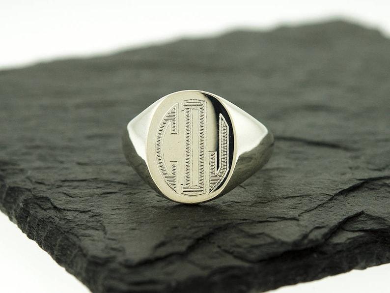 6db23aa4995 925 Sterling Silver Men's Signet Monogram Ring, Groomsmen Gifts