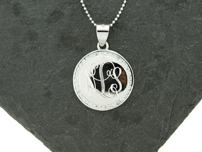 Monogram Necklace 925 Sterling Silver CZ Monogram Pendant Sterling Silver