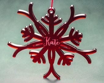 PERSONALIZED ACRYLIC SNOWFLAKE Ornaments // Christmas Tree Decoration - Custom Christmas Snowflake - Personalized Laser Cut Ornament
