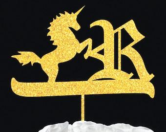 Personalized cake topper gold initial monogram - custom single letter