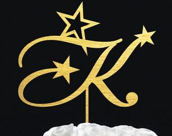 Custom cake topper - personalized single letter gold glitter monogram silver black wood