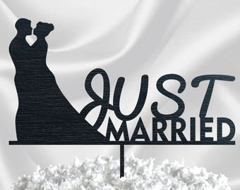 SILHOUETTE CAKE TOPPER // Wedding Cake Topper Silhouette Couple - Personalized Wedding Cake Topper Last Name - Cake Topper Black