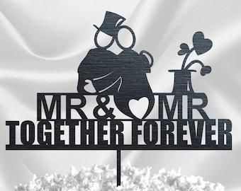 GAY CAKE TOPPER // Wedding Cake Topper Silhouette Couple - Same Sex Wedding Cake Topper - Groom and Groom Cake Topper Black