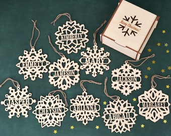 set of personalized wooden snowflake ornaments wood christmas decoration laser cut christmas ornaments custom name snowflake ornament - Snowflake Christmas Decorations