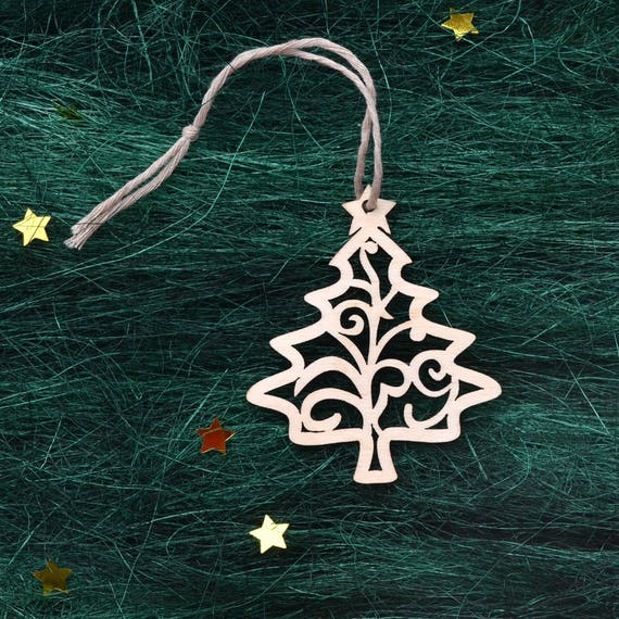 Wooden Christmas Decorations Wood Christmas Tree Decor Laser Cut Christmas Ornaments Handmade Wood Ornaments Wooden Christmas Decor