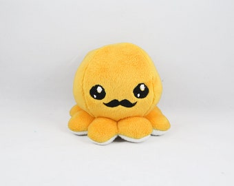 Yellow Gentleman Octopus Plush, Octopus Toy, Embroidered Mustache Octopus, Stuffed Animal,  Minky Fabric
