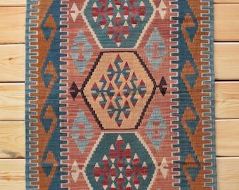 Wool Rug Bath Rug 2.69 x 4.00 ft Area Rug Turkish Rug Boho Decor Kilim Rug Colorful Rug Kilim Ottoman Turkish Kilim Rug Kitchen Decor Kilim