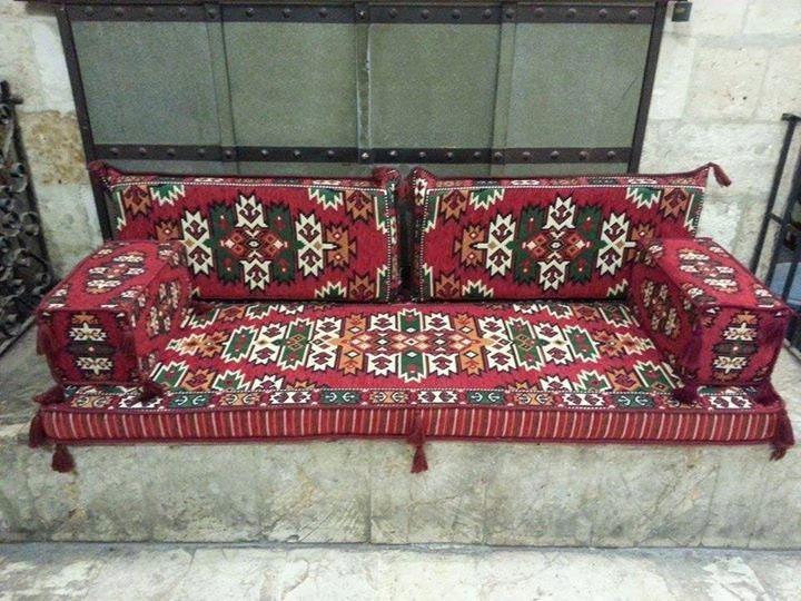 Arabic Oriental Seating Set Hittite Majlis Rug Fabric