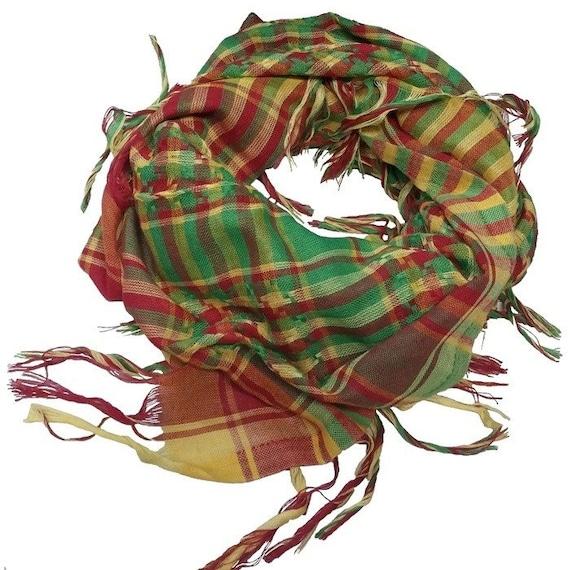 Rouge-vert-jaune Rojava foulard kurde foulards Shemagh keffieh Sénégal Mali  Afrique coton 87c23156de7b