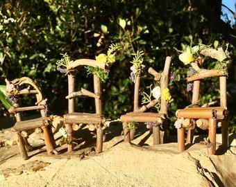 Fairy Chair Set, Fairy Garden Chairs, Fairy Chairs, Miniature Chairs, Elf Chairs, Gnome Chairs, Miniature Chair Set, Miniature Chair,