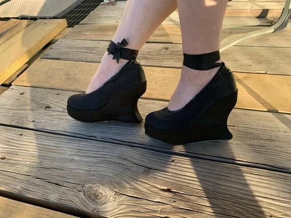 Demonia Women's 'Bravo-07' Black Satin Ankle-tie W