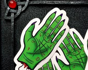 Zombie Palm Reading Hand Vinyl Sticker
