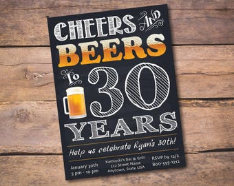 PERSONALIZED Cheers and Beers to 30 Years DIY Printable 5x7 30th Birthday Invitation