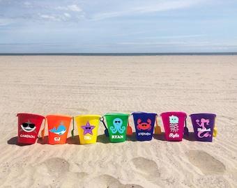 PERSONALIZED Kids Beach Bucket & Shovel Set/Sand Toys/Beach Toys/Water Toys/Sand Pail/Sand Bucket/Custom Gifts