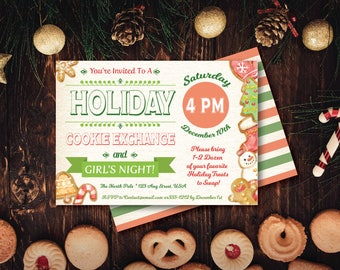 PERSONALIZED 5x7 Holiday Cookie Exchange Girls Night Party Invitation - DIY Printable