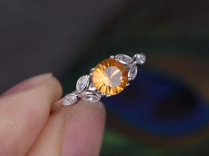 a3e5b1b390d4 Citrino redondo corte 65 mm anillo de compromiso boda sólido