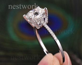 2.5 Carat Moissanite Engagement Ring HIDDEN HALO Moissanite Ring 14k White Gold Wedding Ring 8 mm Cushion Cut Simulated Diamond Bridal Ring