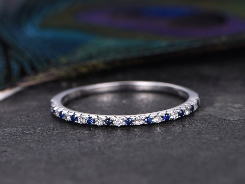 Half Eternity Sapphire /& diamond Wedding ring,Anniversary ring,14k Rose gold,Matching Band,promise ring,best friends,gift for her
