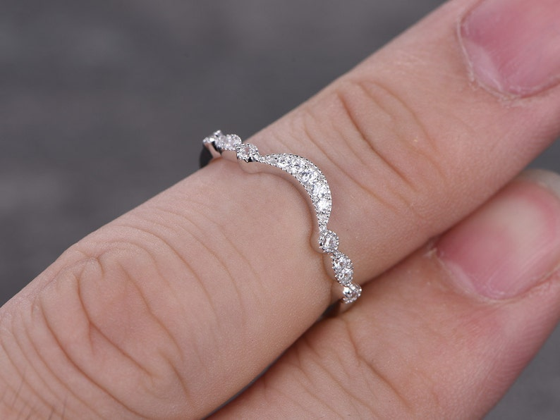Stacking art deco wedding band,matching milgrain eternity ring,solid 14k white gold ring,promise ring,gift for her