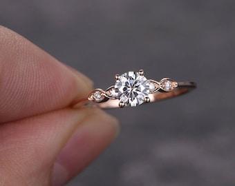 Moissanite Ring 5mm Round Cut Moissanite Engagement Ring rose gold,Diamond Wedding ring band,marquise set promise bridal anniversary ring