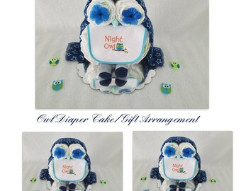 Owl Diaper Cake/Baby Boy Diaper Cake