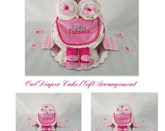 Owl Diaper Cake/Baby Girl Diaper Cake