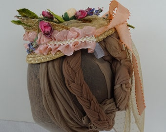 1870 Ladies Victorian Straw Hat, with apricot roses, pink ribbon, spotted net, historic reproduction