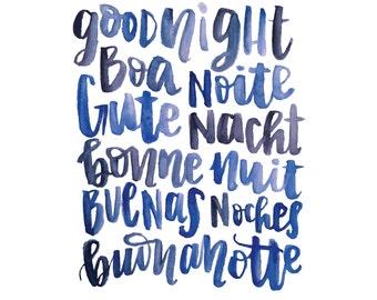 Goodnight Handlettered Print
