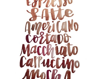 Caffeine Watercolor Print
