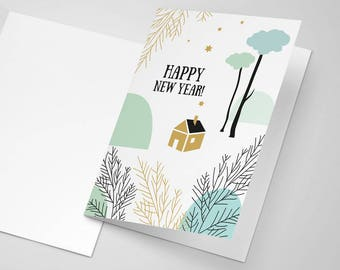 printable greetings card happy new year card best wishes english and french versions instant download holidays printables winter card