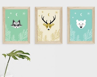 Printable, Posters animaux chambre d'enfant, Nursery decoration, Cerf ours raton laveur cadres, Affiche chambre bébé, Woodland Nursery decor